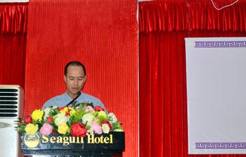 Ông Nguyễn Thanh Hải đại diện Ban Kiểm soát báo cáo tại đại hội