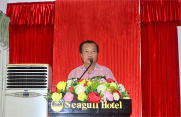 Ông Nguyễn Lương Am – Chủ tịch HHĐQT Công ty CPXD 47 (Công ty mẹ) phát biểu tại đại hội