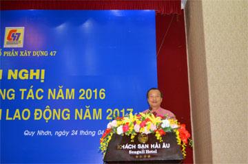 Ông Nguyễn Lương Am – Chủ tịch HĐQT công ty phát biểu tại Hội nghị.